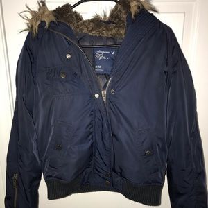 American eagle outfitters navy bomber jacket